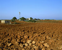 Dry Field. Irrigation and agriculture in southern Cyprus near Paralimni stock photography