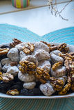 Dry figs prunes and walnuts in portrait wide detail Royalty Free Stock Images