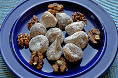 Dry figs and walnuts in landscape close-up Royalty Free Stock Photography