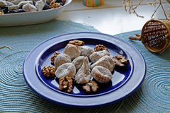 Dry figs and walnuts in landscape wide Stock Image