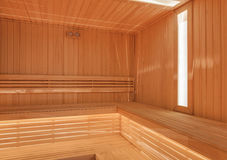 Dry finnish sauna with light wood Royalty Free Stock Images