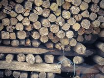 Dry firewood background. Brown and dry firewood background royalty free stock images