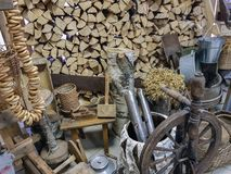 Heap of dry firewood. Dry firewood for firing and heating lie in a pile in the backyard stock photos