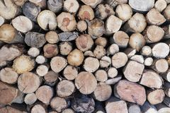 Dry firewood laid in a heap. For kindling the furnace, wood pile background stock image