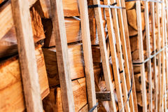 Dry firewood neatly folded and waiting for winter Royalty Free Stock Images