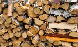 Dry firewood in a pile Stock Photo