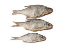 Dry fish. Three dry salted fishes over white background Royalty Free Stock Image