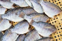 Dry fish on bamboo net Stock Photo