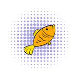 Dry fish icon, comics style Stock Photo