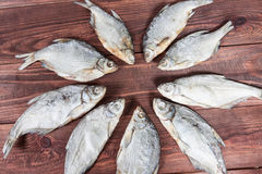 Dry fish on wooden background. Stock Image
