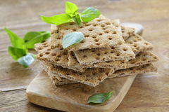 Dry flat bread crisps with herbs Royalty Free Stock Photo