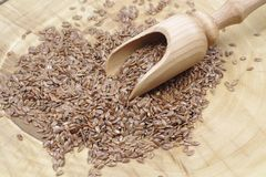 Dry flax seeds. With a wooden spoon Stock Photography