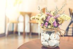 Dry Flower in vase glass stock photo