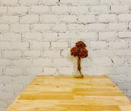 Dry flower on wood table clean interior design Royalty Free Stock Photos
