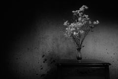 Dry flowers. Antique end table and a vase with dried flowers with grunge background Stock Photography