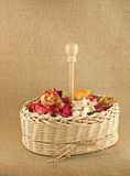 Dry flowers in the basket Royalty Free Stock Photography