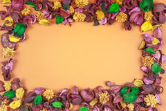 Dry flowers composition. Frame made of dried flowers and leaves. Top view, flat lay. Stock Photography