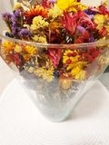 Colorful dry flowers. Dry flowers in different colors in a glass bowl royalty free stock images