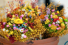 Dry flowers. Easter bouquet from dry flowers  in a flower shop Stock Image