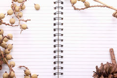 Dry flowers frame on Spiral Bound Notebook Stock Photos