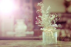 dry flowers in glass vase with rope on blurred background, copyspace. Vintage retro style. Len flare. stock images