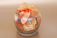 Dry flowers inside glass bowl. Royalty Free Stock Photo