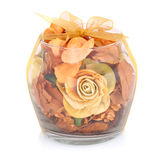 Dry flowers inside transparent glass bowl. Stock Photography
