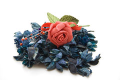 Dry flowers with rose. Blue dry flowers with red rose Royalty Free Stock Image