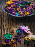 Dry flowers on Vintage brass tray Royalty Free Stock Image
