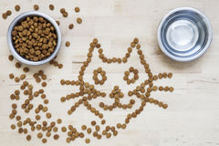 Dry food for cats. Two bowls. Wooden surface. Cat shape Royalty Free Stock Images