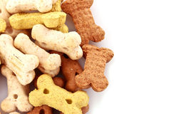 Dry food for dogs in bones shapes isolated. On white Royalty Free Stock Photo