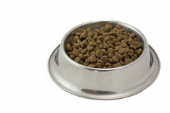 Dry food for dogs in a metal bowl Stock Photos