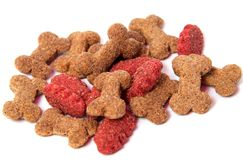 Dry food in granules for Pets. Nutrition food of dogs and cats on an isolated background. Stock Photography