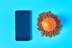 Dry food for pet near smartphone or tablet and rubber basketball ball on blue background