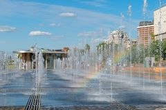 Dry fountain and rainbow Royalty Free Stock Photo