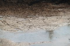 Dry Fractions of Soil. And some water nearby Stock Images