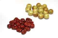 Dry and fresh dates (jujubes). Isolated dry and fresh dates/jujubes Stock Photography