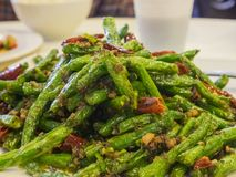 Dry fried string beans. Ate at Los Angeles, California, United States Stock Photo
