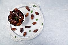 Dry fruit dates on silver tray. Copy space. Top view. Dry fruit dates on silver tray. Copy space. Top view Royalty Free Stock Photos