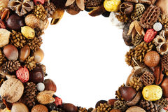 Dry fruit frame Royalty Free Stock Photos