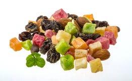 Dry fruit mix. Isolated on white stock photography