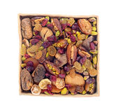 Dry fruit and nuts in ceramic tray Royalty Free Stock Photo