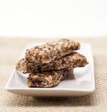 Dry fruit power bar on plate Royalty Free Stock Image