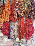 Dry fruit, spices and herbs in a market stall in Athens Stock Photos