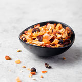 Dry fruit and spices tea: orange, lemon, apricot Royalty Free Stock Photography