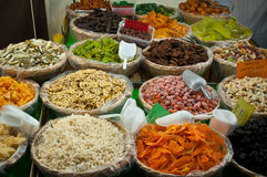 Dry fruit stand market Royalty Free Stock Photos