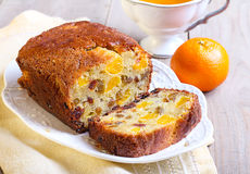 Dry fruit and tangerine cake Stock Images