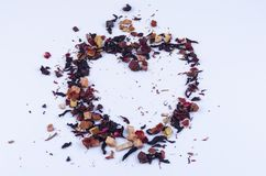 Dry fruit tea heart-shaped.  stock photography