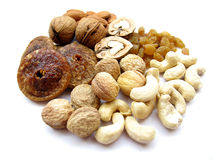 Dry Fruits. Like cashew,almonds,raisins,walnut on white background royalty free stock images