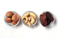 Dry fruits. Dry nectarines, cashews and dates, from india Royalty Free Stock Photo